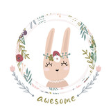 Cute cartoon bunny girl in floral wreath. Awesome text. Childish print for nursery, kids apparel,poster, postcard. Vector Illustration - 217360794