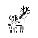 Cute hand drawn dear in black and white style. Cartoon vector illustration in scandinavian style - 217360908