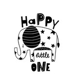 Cute hand drawn elephant in black and white style. Cartoon vector illustration in scandinavian style - 217360917