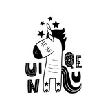 Cute hand drawn unicorn in black and white style. Cartoon vector illustration in scandinavian style - 217360942