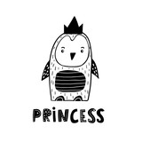 Cute hand drawn penguin princess in black and white style. Cartoon vector illustration in scandinavian style - 217360943