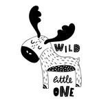 Cute hand drawn moose in black and white style. Cartoon vector illustration in scandinavian style - 217360951