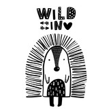 Cute hand drawn porcupine in black and white style. Cartoon vector illustration in scandinavian style - 217360963