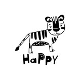 Cute hand drawn tiger in black and white style. Cartoon vector illustration in scandinavian style - 217360973