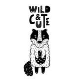 Cute hand drawn wolf in black and white style. Cartoon vector illustration in scandinavian style - 217360987