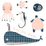 Marine graphic elements, sea horse, whale, octopus, lobster, fish,turtle vector clipart. Cute cartoon characters in modern style - 217361112