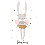 Cute cartoon bunny fairy. Rabbit bellerina with wings. Childish print for nursery, kids apparel,poster, postcard. Vector Illustration - 217361128