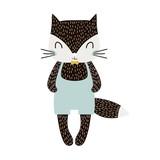 Cute cartoon cat boy in scandinavian style. Childish print for nursery, kids apparel,poster, postcard. Vector Illustration - 217361129