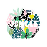 Summer print with text jungle and tropical leaves, tucan, and branches. Vector Illustration - 217361147