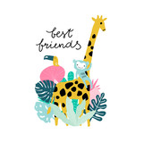 Funny jungle animals Giraffe, monkey, tucan with tropical leaves. Cartoon vector illustration summer illustration - 217361157