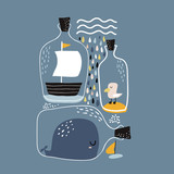 Marine print with whale, boat, seagull in bottles.Childish print for nursery, kids apparel,poster, postcard. Vector Illustration - 217361185