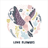 Floral circle with hummingbird . Childish print for nursery, kids apparel,poster, postcard. Vector Illustration - 217361186