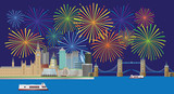 London Skyline Fireworks Panorama color  Illustration - 217362963