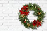 Christmas decorative wreath of holly, mistletoe