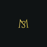 Modern creative elegant MS black and gold color initial based letter icon logo - 217369370