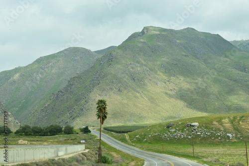 Aluminium Olijf Green and rocky majestic mountain side