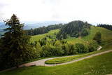 Beautiful Alps and Alpine Hills with Hiking Road near Bregenz, Austria at summer