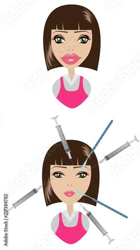Foto Spatwand Pop Art Expert beautician injecting Botulinum toxin in female face. Woman in beauty salon or plastic surgery clinic.