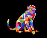 Colorful Monkey Pop Art Cartoon Poster Graphic