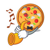 With trumpet pizza mascot cartoon style - 217393366