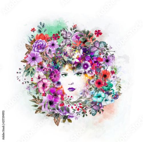 In de dag Abstractie Абстрактные и мистические женщины лицом красочные иллюстрации