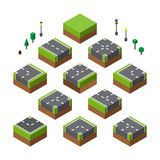 Isometric City Street elements set vector illustration. concept. Flat style design. City street with lamp traffic light trees. Colorful isometric graphics