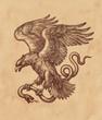 Летящий орёл несущий змею в когтях, рисунок на коричневой старой бумаге, ретро стиль.