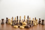 Complete and detailed set of chess on a wood table