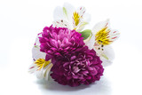 bouquet of beautiful chrysanthemums and lysianthus on a white