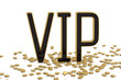 Golden word vip with gold stars isolated on white background 3D illustration.