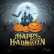 Happy Halloween gold message, pumpkin bat, witch, castle, design background, vector illustrations