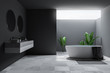 Leinwandbild Motiv Loft large gray bathroom interior, tub and sink