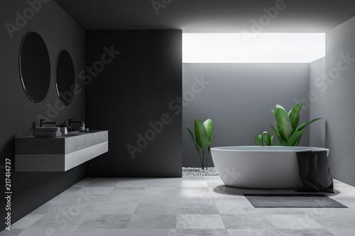 Loft large gray bathroom interior, tub and sink - 217414737
