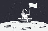 Astronaut, sitting on a bench on the moon, holds a flag.Space vector illustration