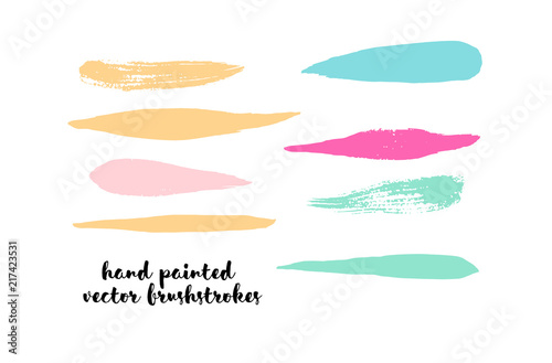 Graffiti Grunge Vector Watercolor Brushstrokes. Buttons, Splashes, Doodles, Stains, Scribble Hand Painted Vector Set. Vintage Uneven Textured Paintbrush Logo Elements. Rough Trendy Highlight Swatches.