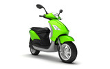 3D Rendering of light green modern motor scooter isolated on white background. Front side view of light green moped. Perspective
