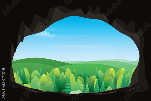 Scenery of mountain view from inside the cave. Vector nature background