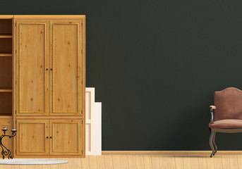 Classic interior with wardrobe and chair. Wall mock up. 3d illustration.