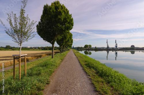 Leinwanddruck Bild Weg am Kanal mit Kränen