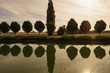Leinwanddruck Bild - Allee am Kanal