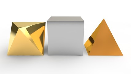 set of geometric shapes, polyhedrons made of metal, cube, pyramid. Three geometric shapes on a white background. 3D rendering