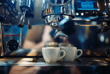 Coffee machine pours fresh espresso into the cups - 217464137