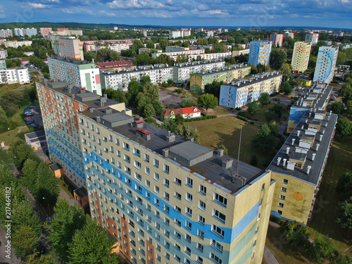 Foto Murales Polish city, block flat houses, high density, trees, aerial view