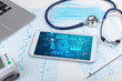 Leinwanddruck Bild - Report and cell composition concept with modern medical technology