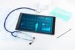 Leinwanddruck Bild - Live medical screening with medical application on tablet