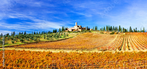 Fotobehang Freesurf Picturesque Tuscany - golden vineywrds and castles. Wine region of Italy