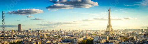 panorama of famous Eiffel Tower and Paris roofs, Paris France, retro toned - 217473787