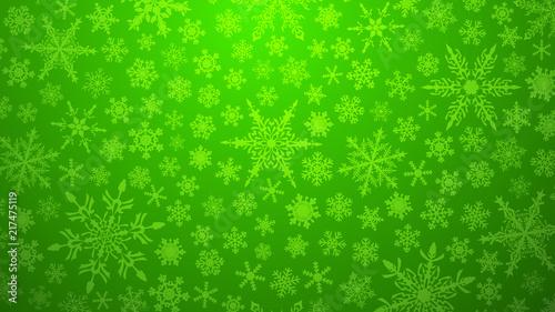 Bożenarodzeniowa ilustracja z różnorodnymi małymi płatkami śniegu na gradientowym tle w zielonych kolorach