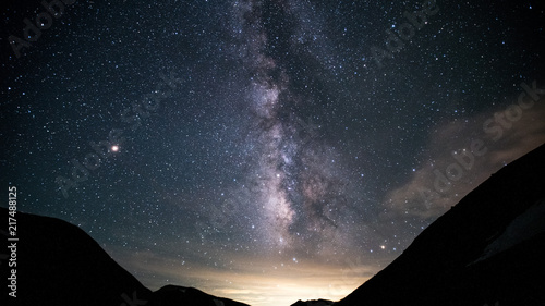 Aluminium Heelal 槍ヶ岳、双六池・双六小屋、天の川と星座、登山、北アルプス、絶景、日本