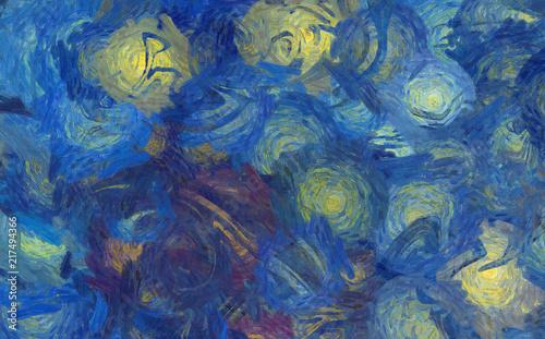 Streszczenie tekstura tło. Obraz cyfrowy w stylu Vincent Van Gogh. Ręcznie rysowane artystyczny wzór. Sztuka współczesna. Dobry do wydrukowania zdjęć, pocztówek, plakatów lub tapet i nadruku tekstylnego.